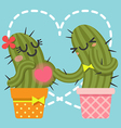 loving couple of cactus vector image