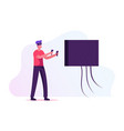 man gamer playing video game in vr goggles vector image vector image