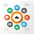 media icons set with people profile cloud and vector image vector image