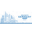 outline welcome to germany skyline with blue vector image vector image