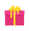 parcel icon in decorative pink wrapping paper bow vector image vector image