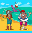 pirates on island cartoon vector image