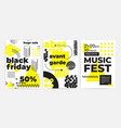 posters set with bright bold geometric elements vector image
