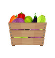 ripe and fresh vegetables in brown wooden box vector image
