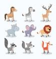 set animal caricature of wildlife in white vector image