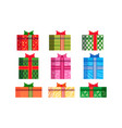 set different colorful gift boxes wrapped ribbon vector image