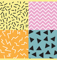 set of 4 seamless memphis patterns trendy and vector image vector image