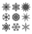 Set of black paper snowflakes vector image vector image