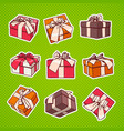 set of colorful gift box pop art retro style of vector image