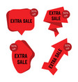 set of four red extra sale stickers with text vector image vector image