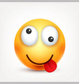 smiley with tonguesmiling emoticon yellow face vector image
