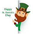 smiling cartoon character leprechaun with green vector image vector image