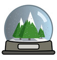snow globe with three christmas trees vector image vector image