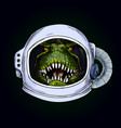 t-rex head in space helmet on black bg vector image vector image