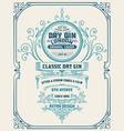 vertical gin label with floral frame vector image vector image