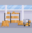 warehouse interior with boxes on rack logistic vector image