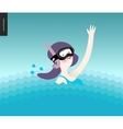 Waving girl in diving mask in the water vector image