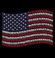 waving usa flag stylization of waving flag icons vector image vector image