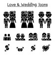 wedding loving icon set vector image vector image