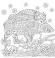 wild boar adult coloring page vector image