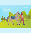 woman and horse on nature park or farm forest vector image vector image