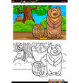 cartoon bear with honey coloring book vector image
