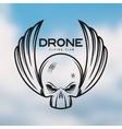 Drone flying club emblem Vintage vector image