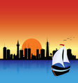 city with boat vector image