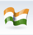 3d waving flag india isolated on white vector image vector image