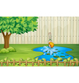 A boy diving in the pond vector image