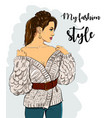 beautiful young women in fashion clothes detailed vector image