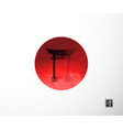 big red sun and sacred torii gates vector image