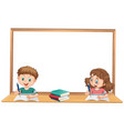 boy and girl studying with wihteboard copyspace