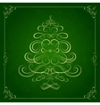 Calligraphy Christmas tree on green background vector image vector image