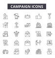 campaign line icons signs set outline vector image vector image
