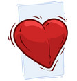 cartoon big red pulsing cute heart icon vector image vector image