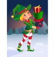 cartoon character elf with gifts vector image