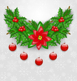 Christmas adornment with balls holly berry pine vector image vector image