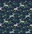 christmas seamless pattern deers pine tree twigs vector image vector image