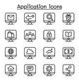 computer application icon set in thin line style vector image vector image