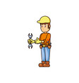 construction worker with wrench tool vector image vector image