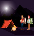 couple of tourists in zone camping and nightscape vector image