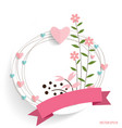 Cute card with ribbon heart and floral bouquets vector image vector image