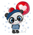 cute cartoon panda with balloon vector image vector image