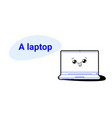 cute laptop cartoon comic character with smiling vector image vector image