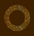 decorative frame of gold doodle floral elements vector image vector image