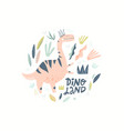 dino girl color flat hand drawn character vector image