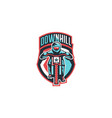 emblem of a cyclist on a mountain bike sport bike vector image vector image