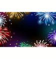fireworks on black background with copy space vector image