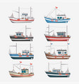 fishing boats side view on white background vector image vector image